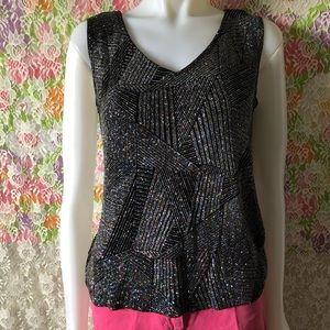 RONNI NICOLE BY OUIDA V NECK SPARKLE TANK TOP